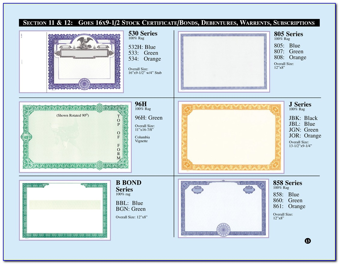 Goes 265 Stock Certificate Template