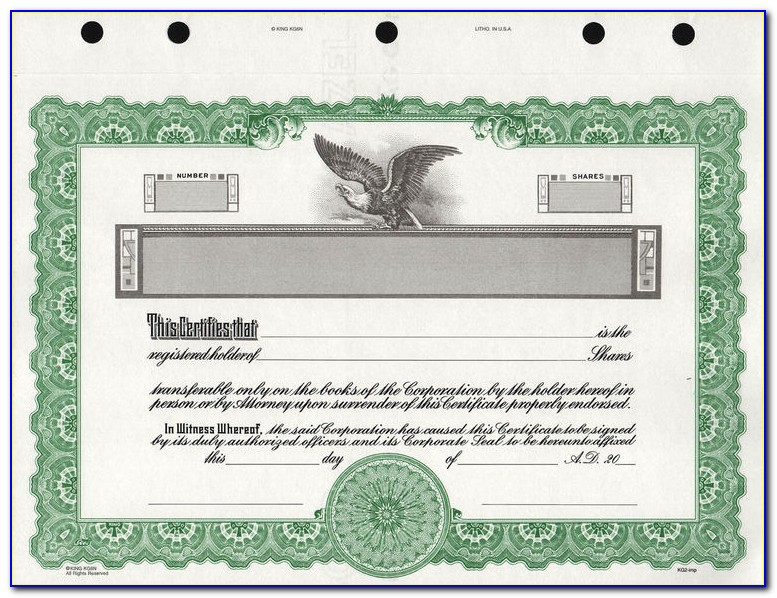 Goes 722 Stock Certificate Template