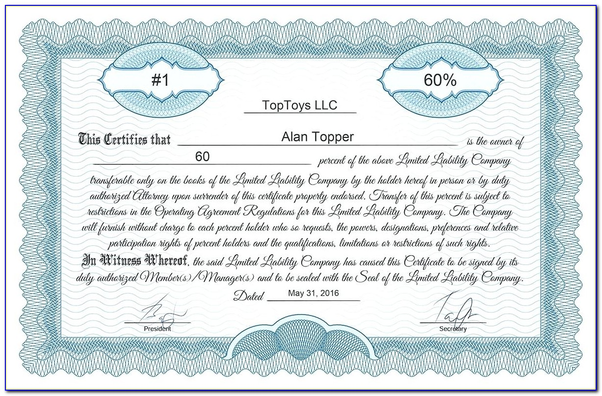 Goes 73 Stock Certificate Template