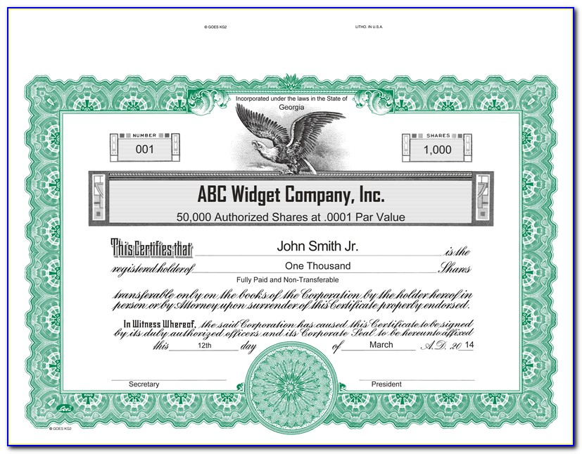 Goes Kg2 Stock Certificate Template