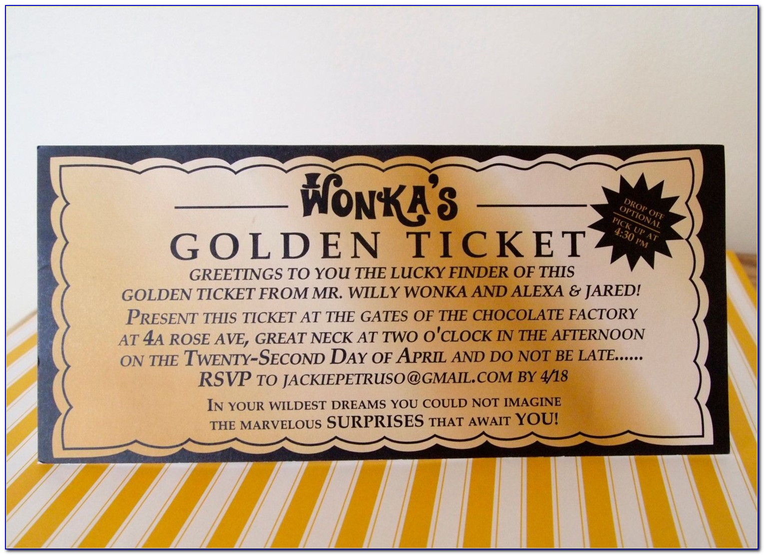 Golden Ticket Invitation Template Free