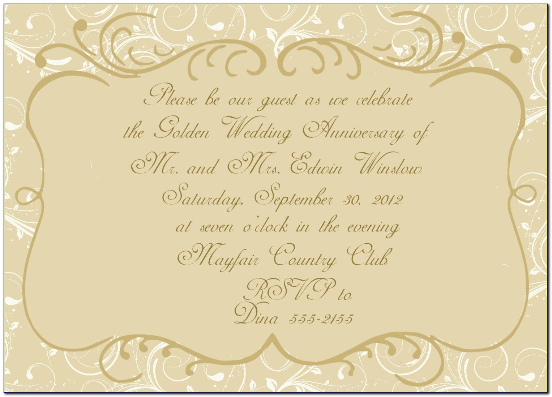 Golden Wedding Anniversary Invitations Templates Uk