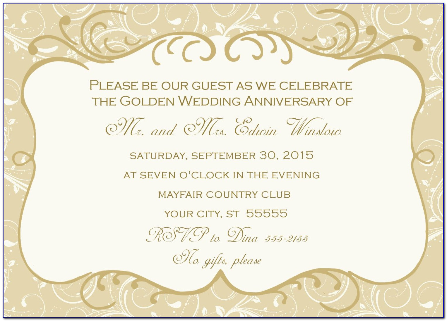 Golden Wedding Anniversary Invitations Templates