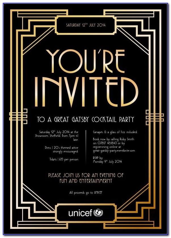 Great Gatsby Wedding Invitations Templates