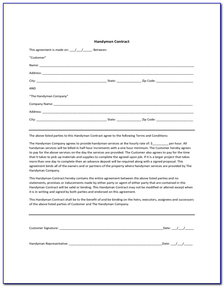Handyman Service Contract Template