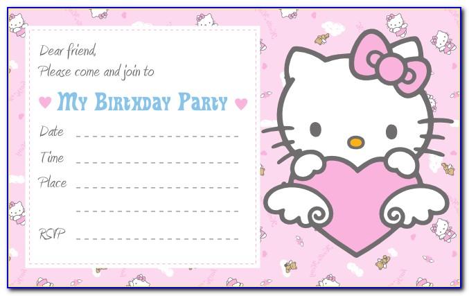 Hello Kitty Invitation Template Blank