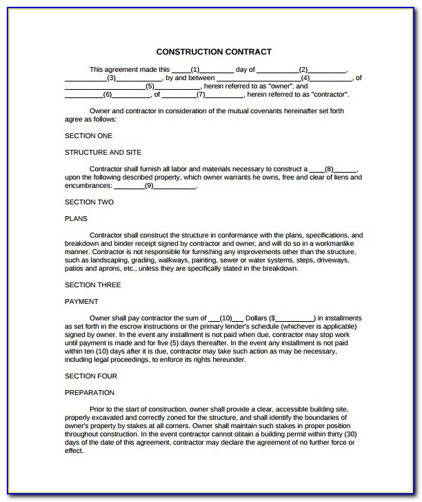 Home Builder Contract Template