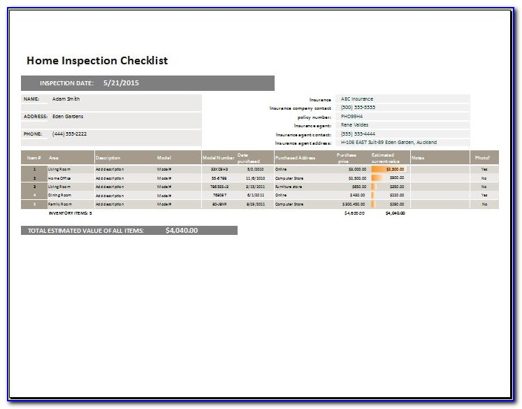 Home Inspection Report Template Excel