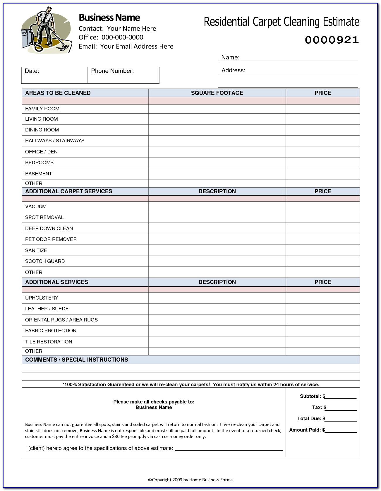 House Cleaning Estimate Template Free