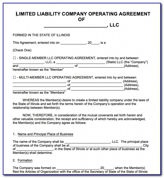 Illinois Series Llc Operating Agreement Forms