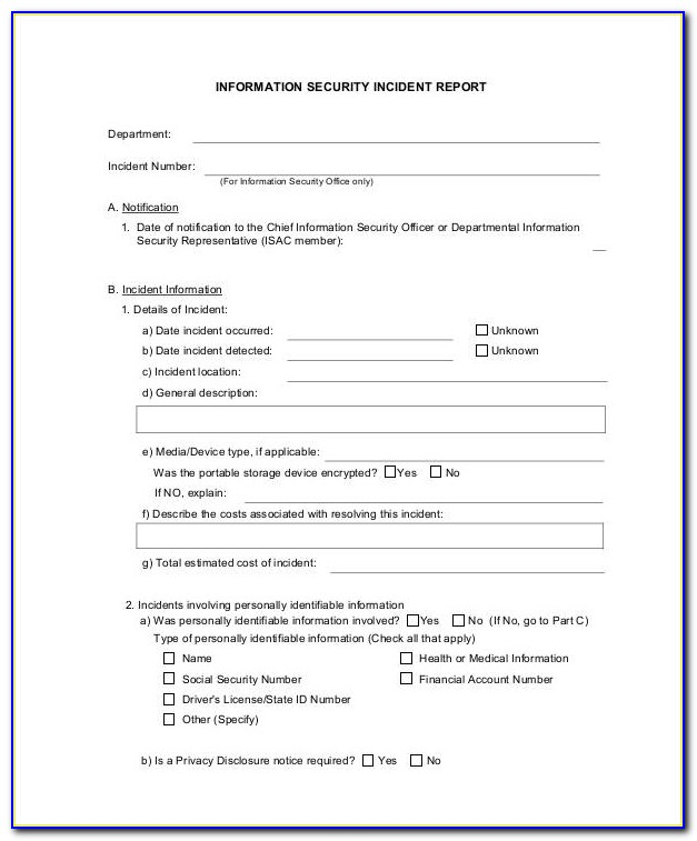 Information Security Incident Reporting Form