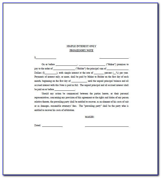 Interest Only Promissory Note Template