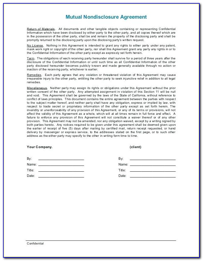 Invention Non Disclosure Agreement Template