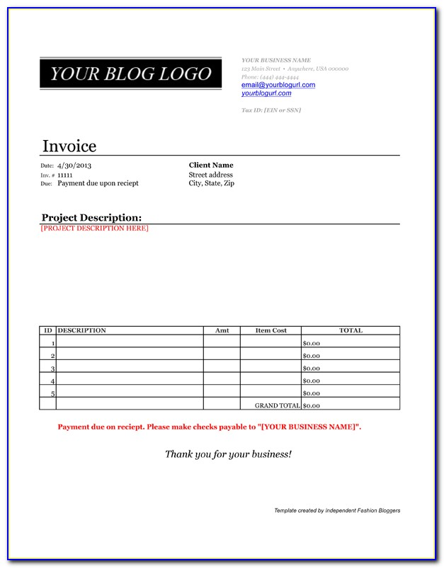 Invoice Payment Template Word