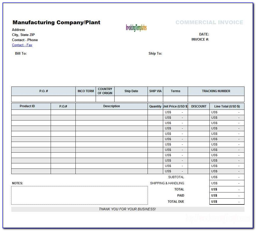 Invoice Template In Excel 2007 Free Download