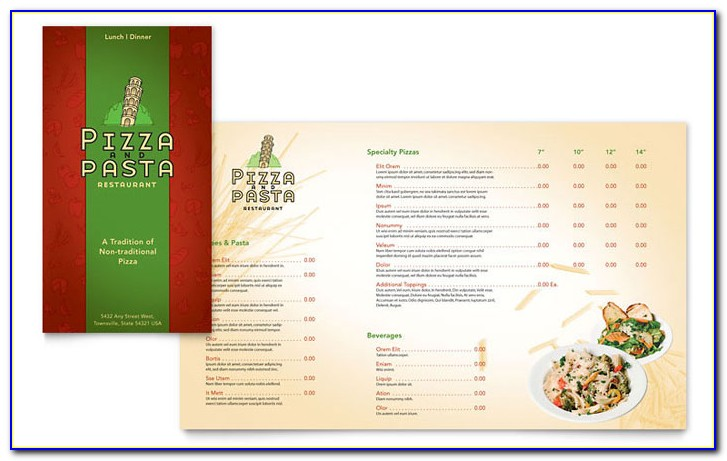 Italian Restaurant Menu Templates Word
