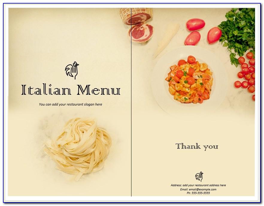 Italian Food Menu Template Word Templates With Italian Menu Template Free Download