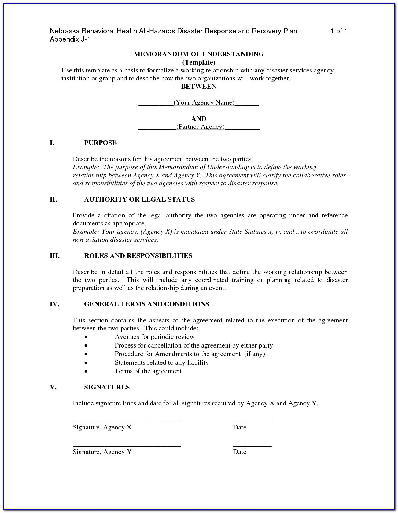 Joint Venture Mou Template