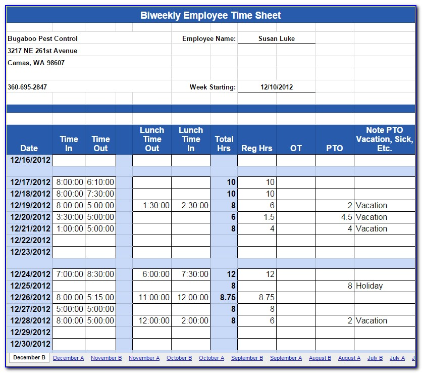 Labor Timesheet Template
