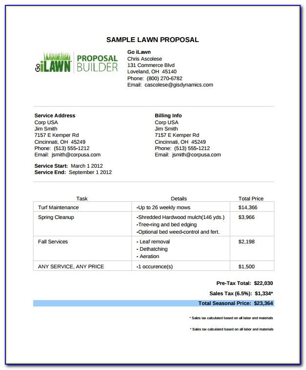 Lawn Maintenance Proposal Template Free