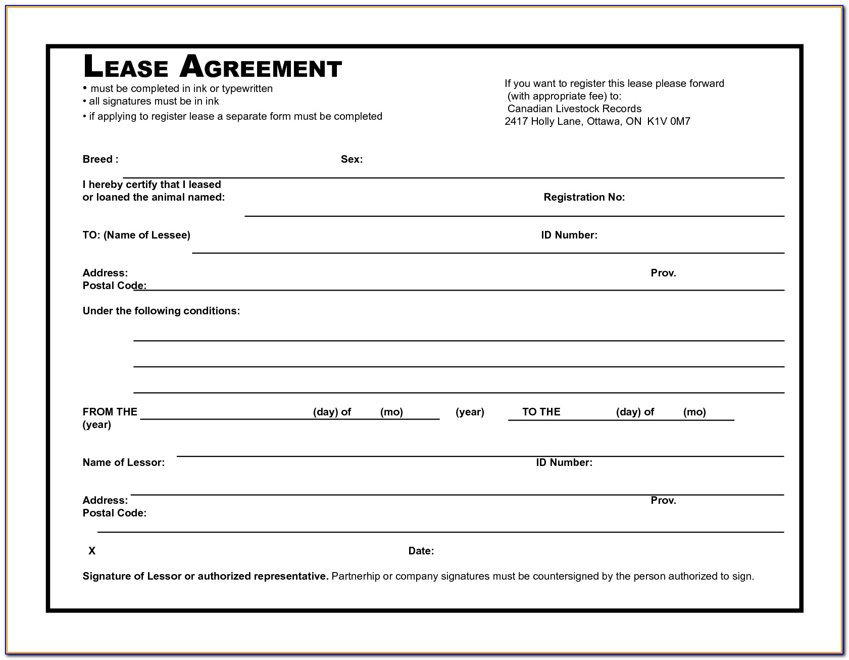 Lease Agreement Document Template