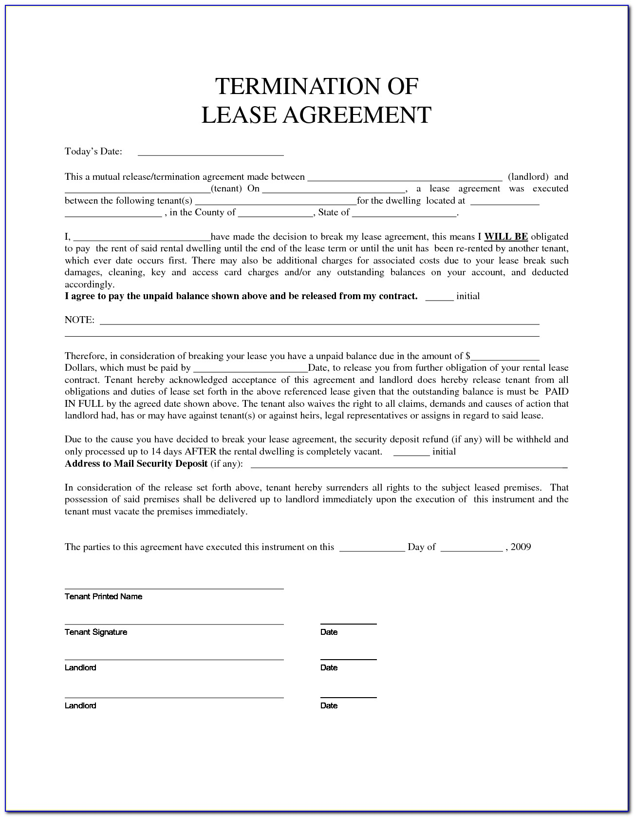 Lease Agreement Template Pdf Free