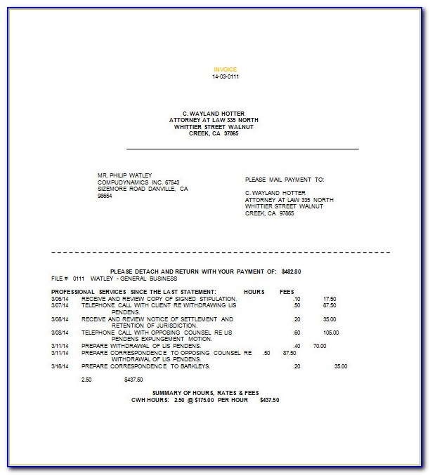 Legal Services Invoice Template Word