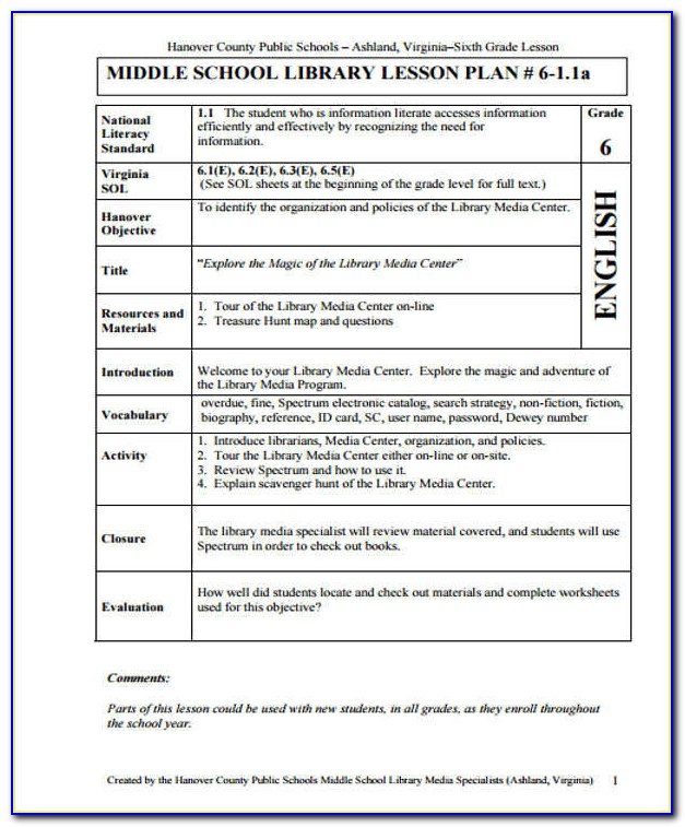Lesson Plan Template For Middle School Ela