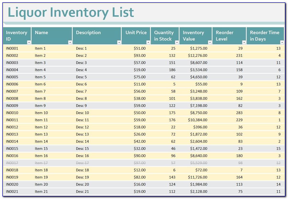 Liquor Store Inventory Excel Template
