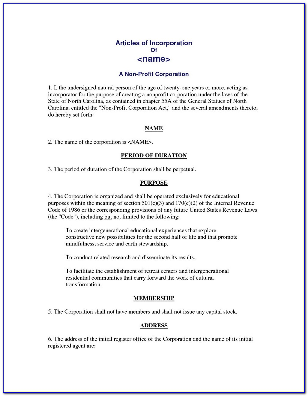 Llc Articles Of Incorporation Template Free