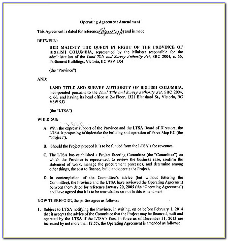 Llc Operating Agreement Amendment Template