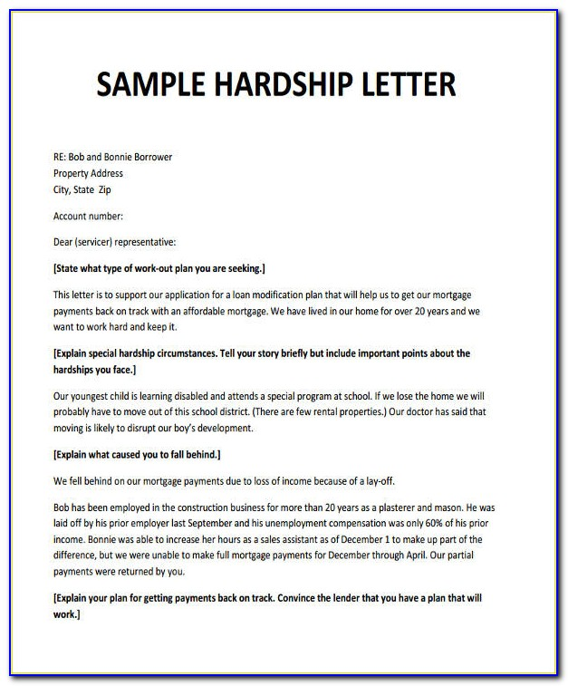 Loan Modification Hardship Letter Template