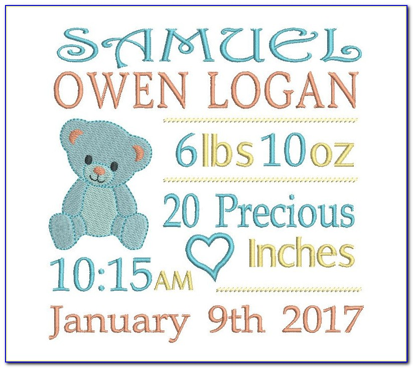 Machine Embroidered Birth Announcement Template