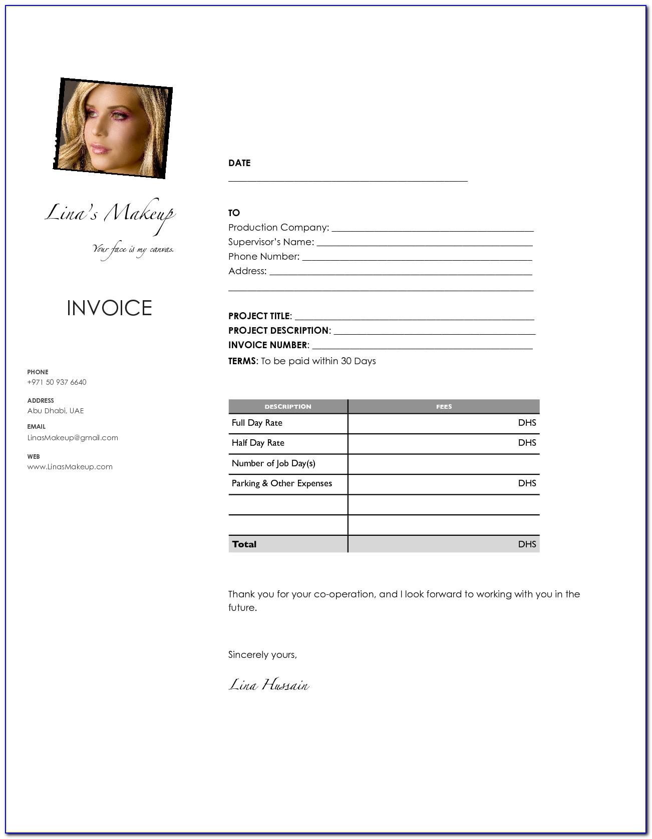 Makeup Artist Invoice Template Download