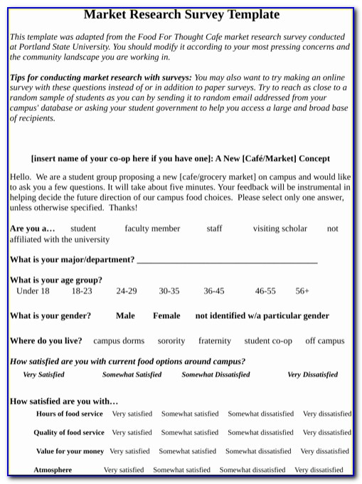Marketing Survey Form Template Awesome Research Survey Example Download Marketing Research Template For