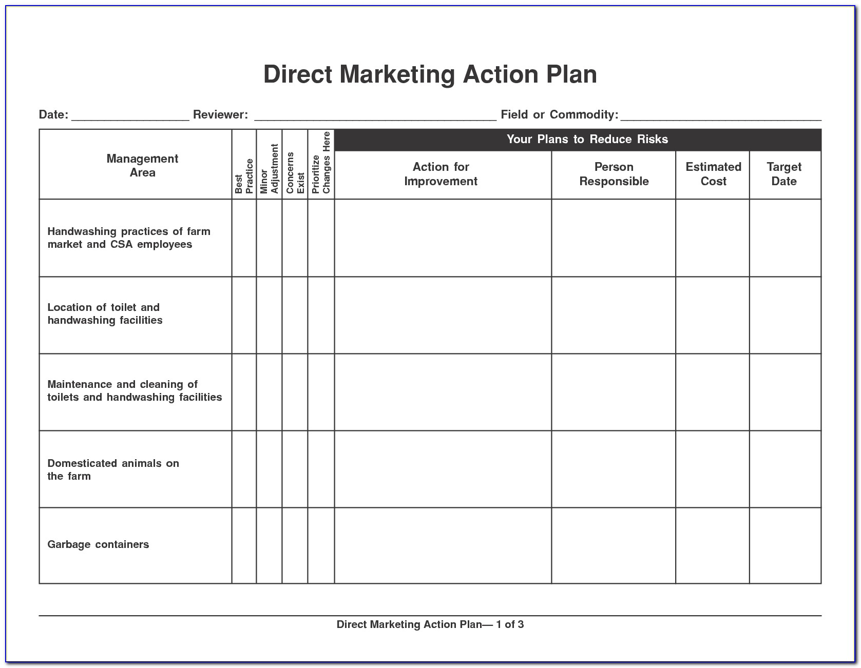 Marketing Action Plan Template Excel Free