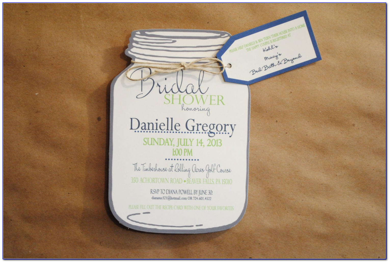 Mason Jar Shower Invitation Template