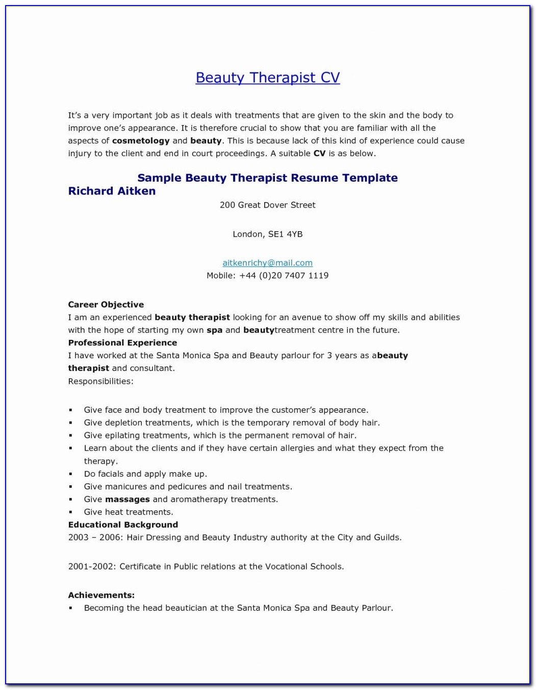 Beauty Therapist Resume Sample Beauty Therapist Resume Sample Beauty Therapist Job Description Template Massage Cover Letter
