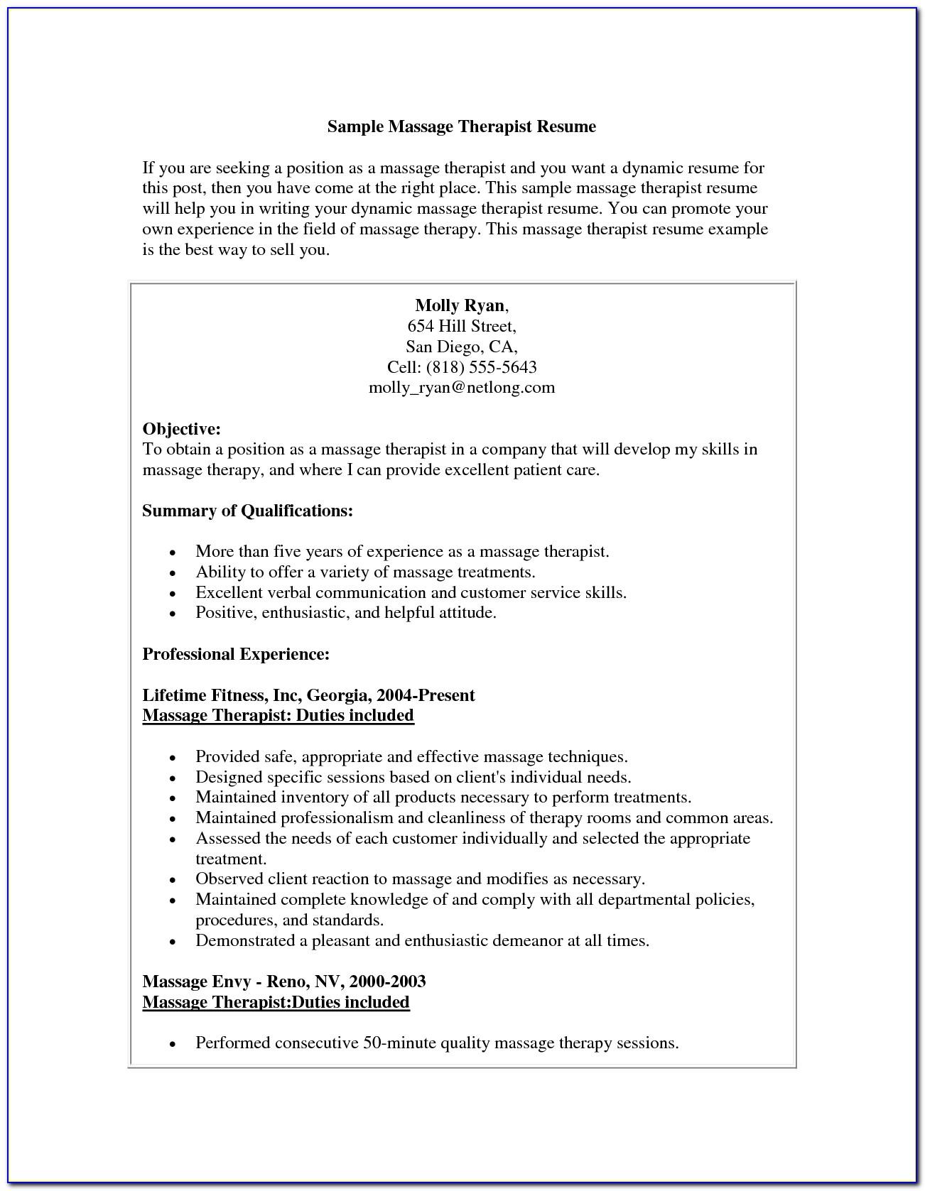Massage Therapist Job Description Template