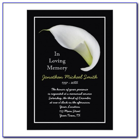 Memorial Service Invitation Template Free