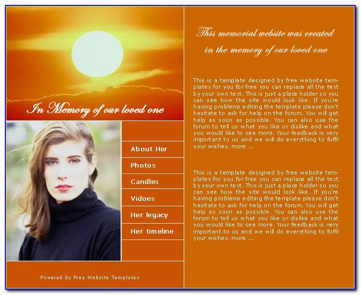 Memorial Website Template Free