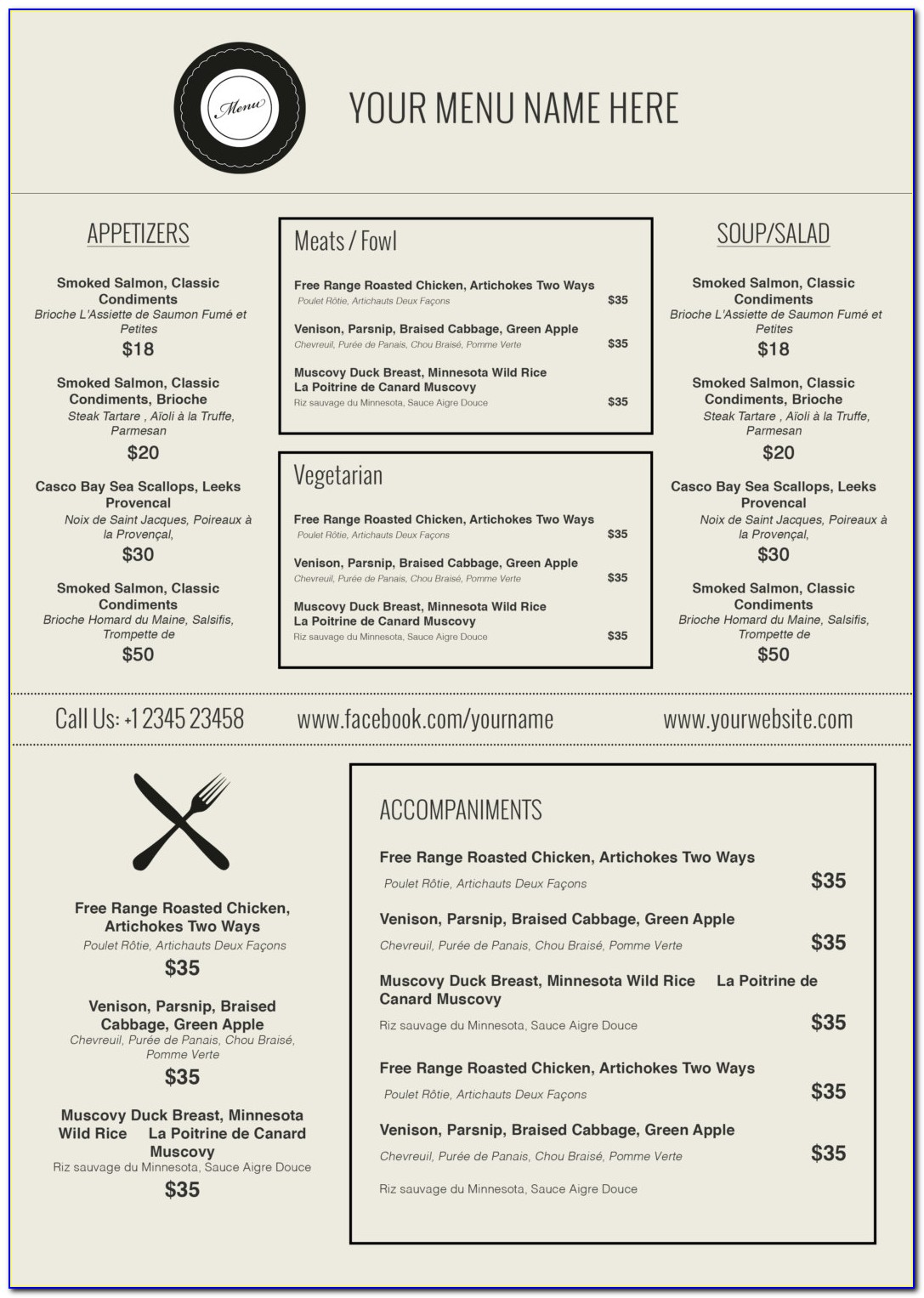 Menu Template Microsoft Word Free Download