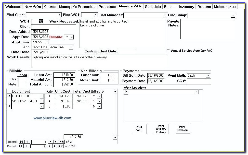 Microsoft Access Contract Management Database Template