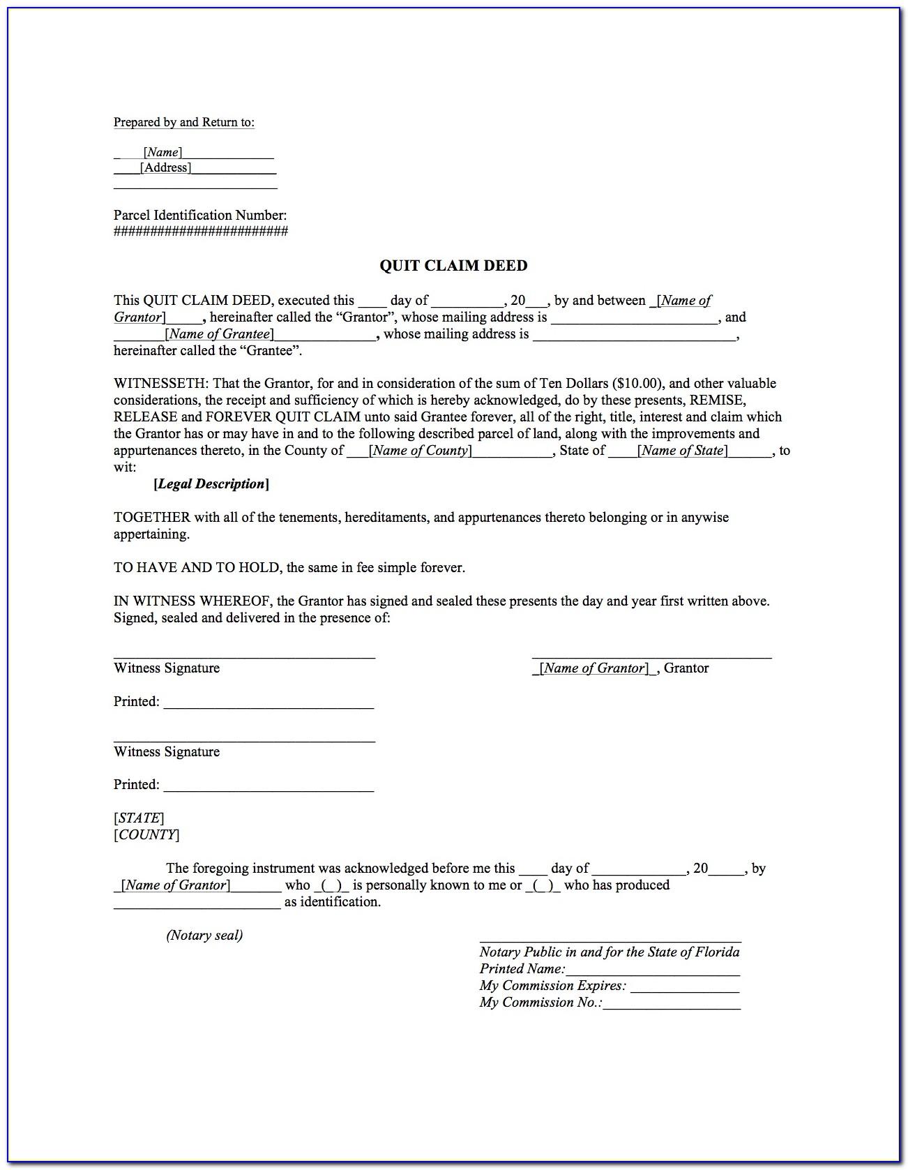 Minnesota Quit Claim Deed Form Word