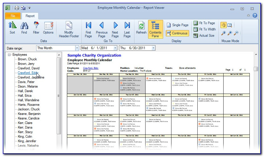 Monthly Employee Work Schedule Template Free