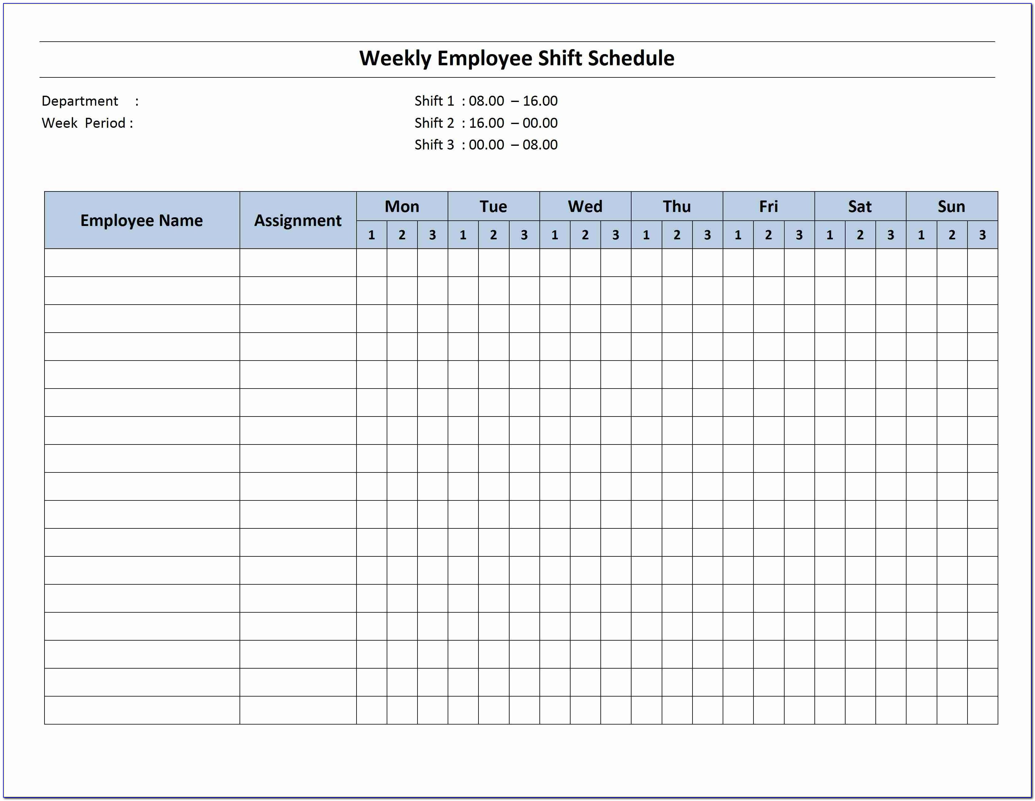 Monthly Work Schedule Template Word
