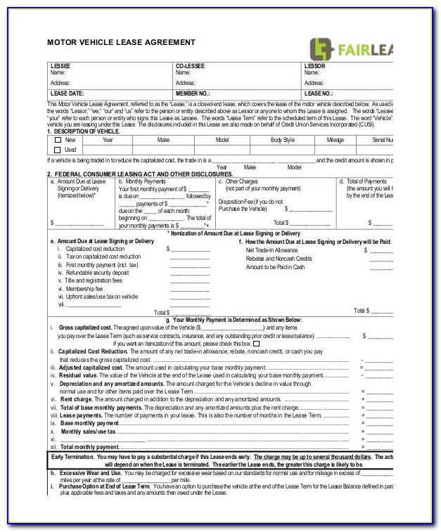 Motor Vehicle Lease Agreement Form