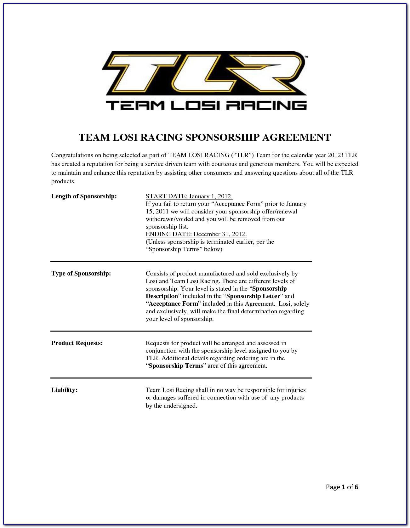 Motorsport Sponsorship Contract Template