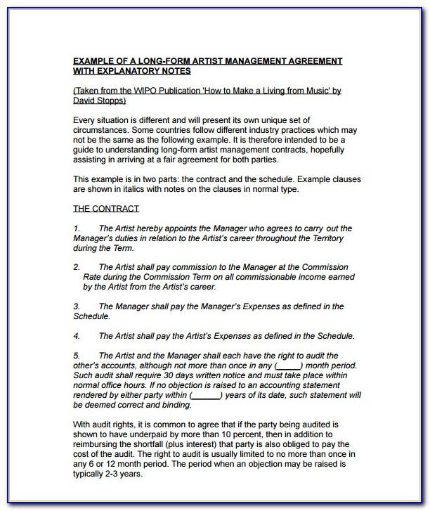 Music Artist Management Contract Template Uk
