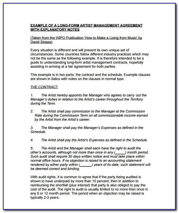 Music Management Contract Template Free